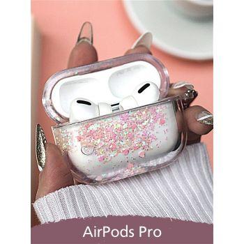 Чехол переливашка с жидкими блестками для Apple Airpods Pro, розовый