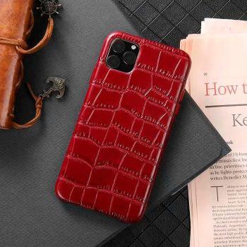 Чехол из натуральной кожи LEATHER CROCO для iPhone 11 Pro Max красный