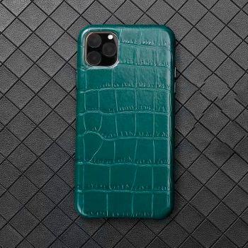 Чехол из натуральной кожи LEATHER CROCO для iPhone 11 зеленый