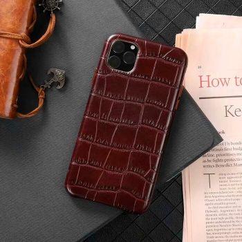 Чехол из натуральной кожи LEATHER CROCO для iPhone 11 Pro Max коричневый