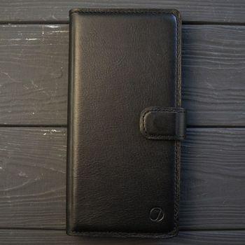 Классический кожаный чехол книжка ручной работы Elite для Huawei Y8P от Jitnik, черная
