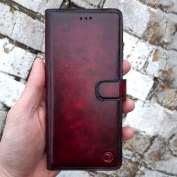 Бордовый винтажный кожаный чехол книжка Exclusive для Xiaomi Mi Play от Jitnik