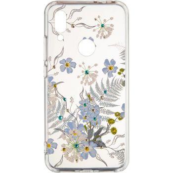 """Cиликоновая накладка с камушками """"Синие цветы"""" от Younicou для Samsung A705 (A70)"""