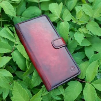 Винтажный кожаный чехол книжка Exclusive для Samsung A805 (A80) от Jitnik, красный
