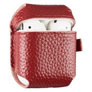 Красный кожаный чехол для AirPods