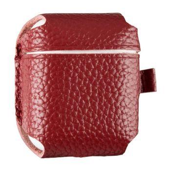 Красный кожаный чехол для AirPods Pro