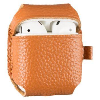 Коричневый кожаный чехол для AirPods