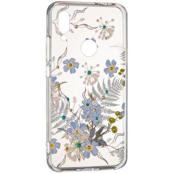 """Cиликоновая накладка с камушками """"Синие цветы"""" от Younicou для Samsung A805 (A80)"""