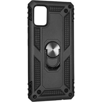 Противоударный черный чехол Defence с кольцом от Honor для Samsung A515 (A51)