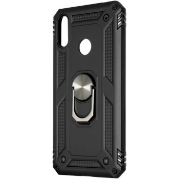 Противоударный черный чехол Defence с кольцом от Honor для Huawei Y7 (2019)