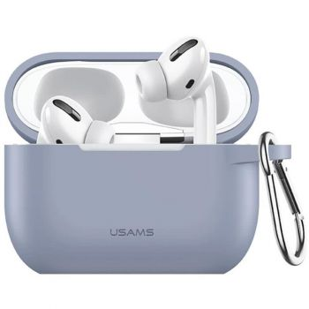 Фиолетовый силиконовый защитный чехол от Usams для AirPods Pro (US-BH568)