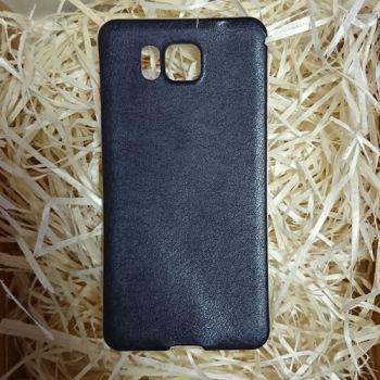 Силиконовая накладка с кожаной вставкой для Samsung Galaxy Alpha черная