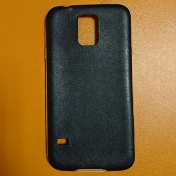 Cиликоновая накладка с кожаной вставкой для Samsung Galaxy S5 черная