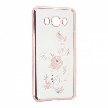 Прозрачный чехол с рисунком и камешками для Meizu M5s Rose