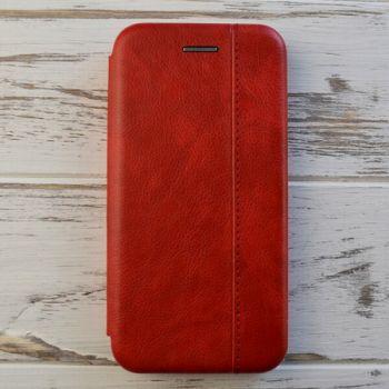 Яркий чехол флип из кожи Lux Red для iPhone XS Max красный