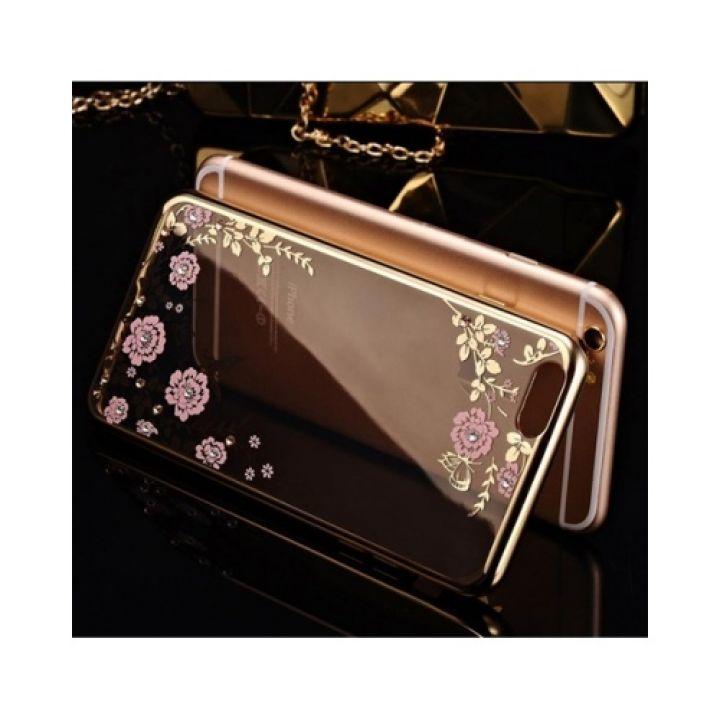 Красивый силиконовый чехол накладка Flora Diamond для iPhone 7 Plus gold