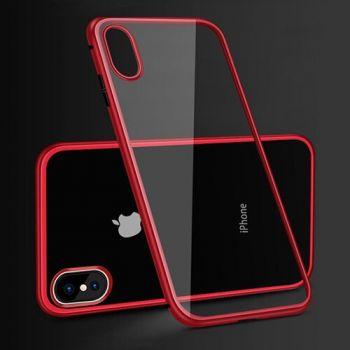 Красного цвета магнитный металлический чехол бампер Strong для iPhone 8