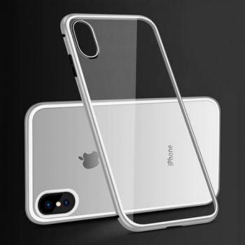 Серебристый чехол бампер на магните Strong для iPhone XS Max