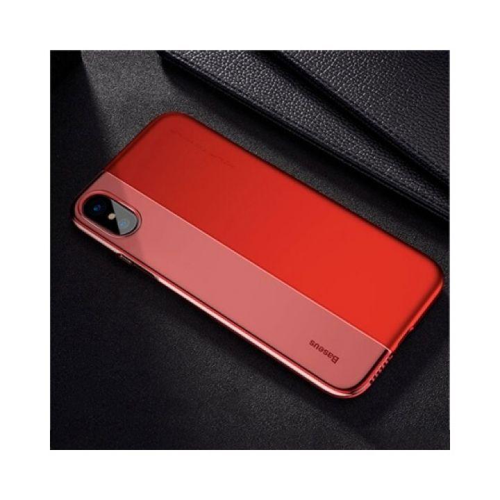Чехол накладка для iPhone X от Baseus из разных материалов Half case красный