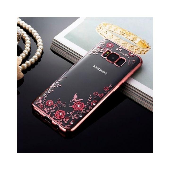 Розовый чехол бампер Diamond Flower для Samsung Galaxy Note 8