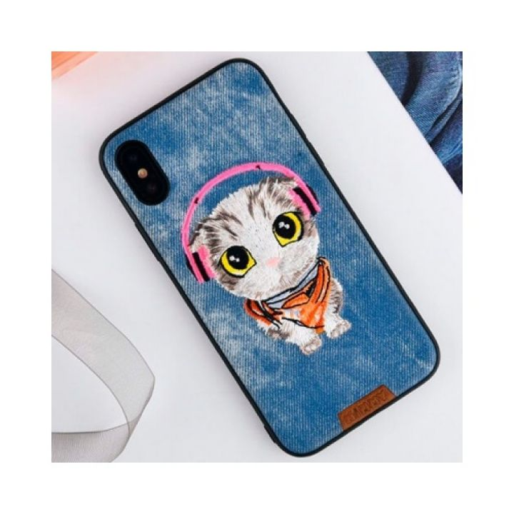Прикольный чехол бампер Sound Cat для iPhone X