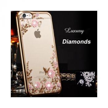 Красивый силиконовый чехол накладка Flora Diamond для iPhone 8 Plus gold