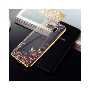 Красивый чехол пенал золотого цвета Diamond Flower для Samsung Galaxy S8 Plus