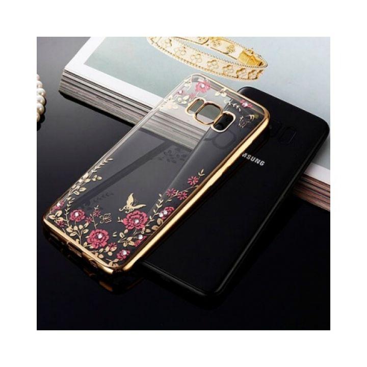 Роскошный чехол пенал Diamond Flower для Samsung Galaxy S8 gold
