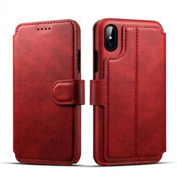 Стильный кожаный чехол Lux Case для iPhone X красного цвета