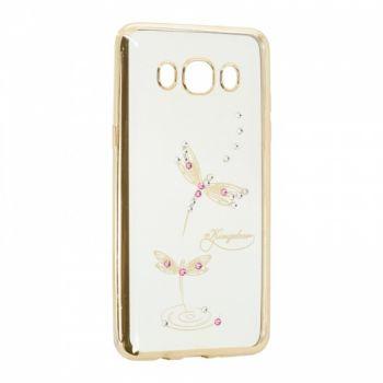 Прозрачный чехол с рисунком и камешками для Samsung J5 Prime Dragonfly
