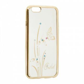 Прозрачный чехол с рисунком и камешками для Meizu M5 Orchid