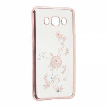 Прозрачный чехол с рисунком и камешками для Meizu M3s Rose