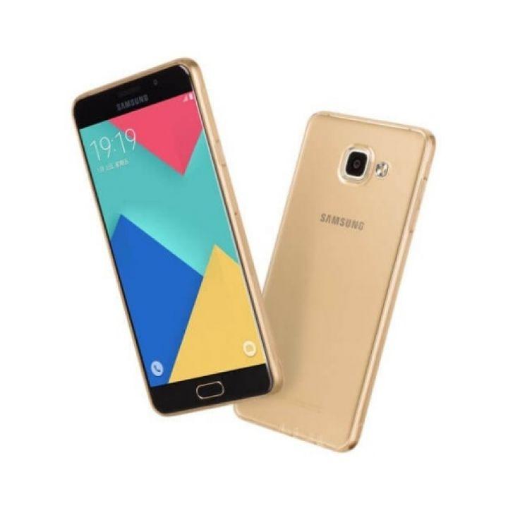 Прозрачный ТПУ чехол бампер Bright для Samsung Galaxy A3 2016 gold