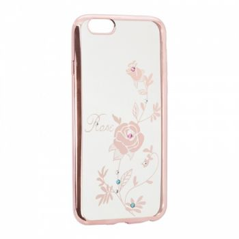 Прозрачный чехол с рисунком и камешками для Meizu M5 Rose