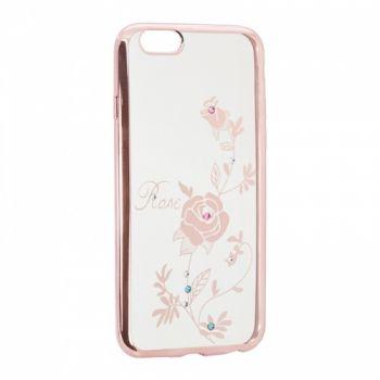 Прозрачный чехол с рисунком и камешками для Meizu U10 Rose