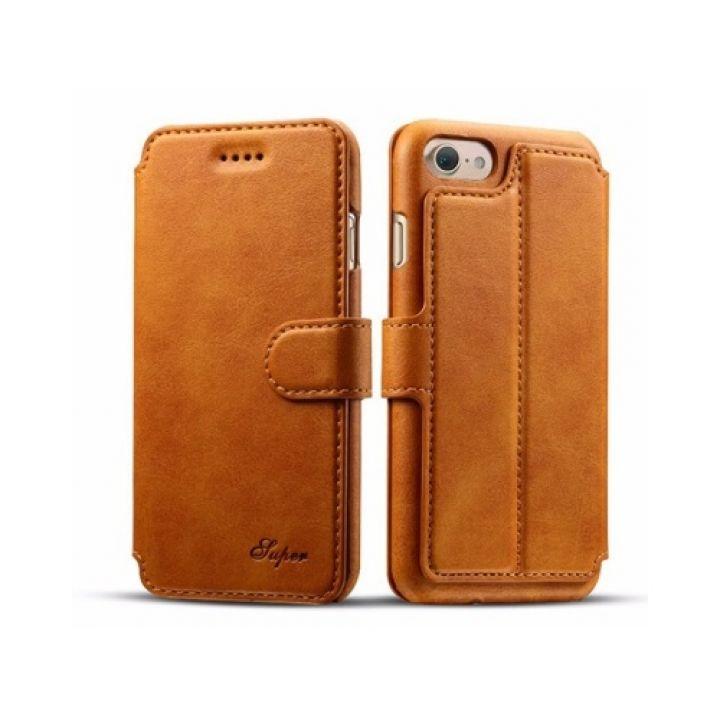 Кожаный чехол книжка Elegant для iPhone 7 Plus orange
