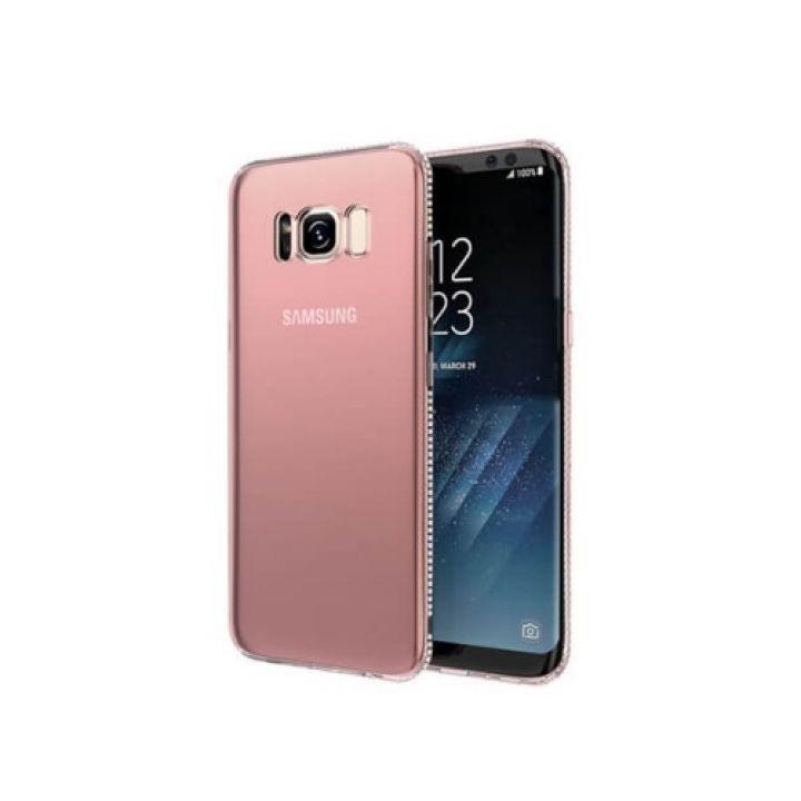 Дизайнерский чехол бампер Pure Diamonds для Samsung Galaxy S8 rose