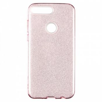 Чехол с блесками Glitter Silicon от Remax для Huawei Y6 (2018) розовый