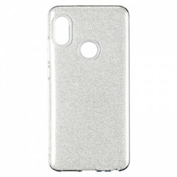 Чехол с блесками Glitter Silicon от Remax для Huawei Y7 Prime (2018) серебро