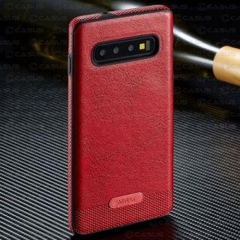 Красный кожаный чехол накладка Allure для Samsung Galaxy S10 Plus