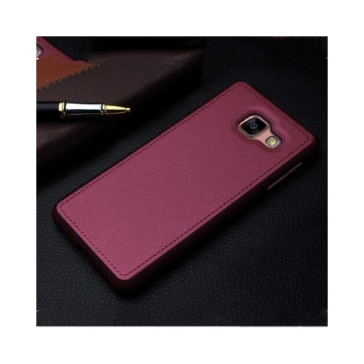 Чехол бампер для Samsung Galaxy A5 2016 с кожаной вставкой Flexible Red