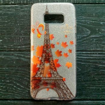 Серебристый чехол бампер c рисунком Paris для iPhone 7 Plus