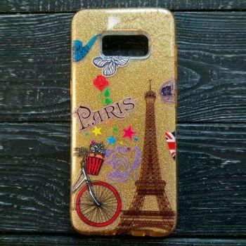 Золотистый чехол бампер c рисунком Paris для Samsung Galaxy J730