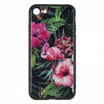 Силиконовая накладка с принтом от iPaky для iPhone 7 Plus розовый Flamingo