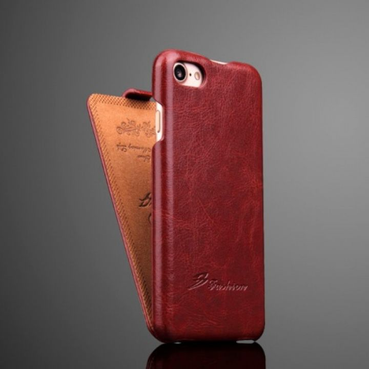ОРИГИНАЛ кожаный чехол флип Luxury Case для iPhone 7 brown