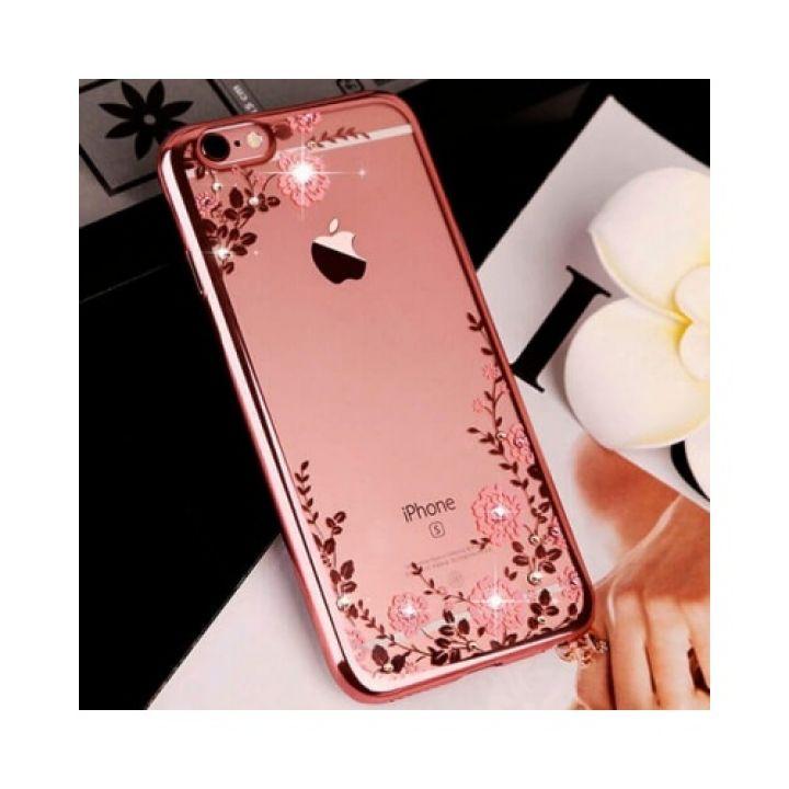 Красивый чехол накладка Flora Diamond для iPhone 6/6s pink
