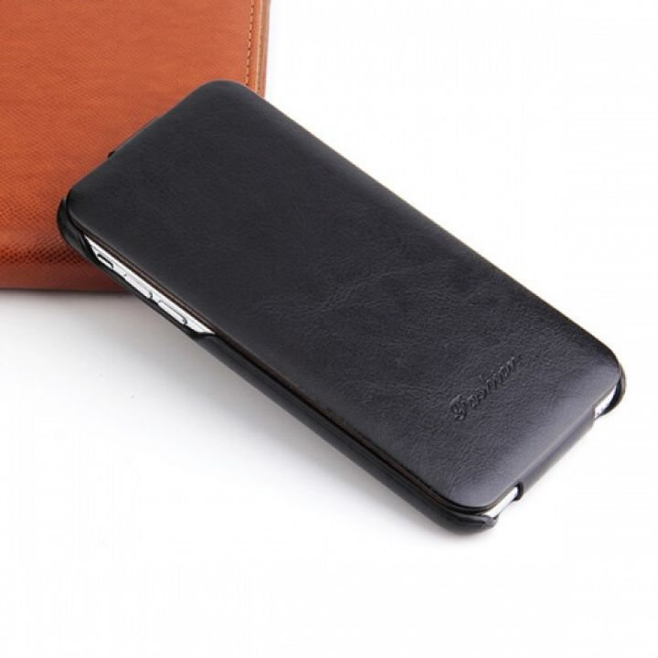 Кожаный чехол флип Luxury Case для iPhone 8 black