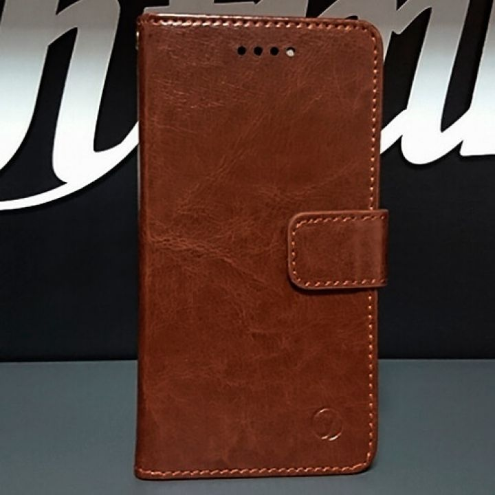 Кожаный чехол книжка Kangaroo от Jitnik для iPhone 7 Plus, коричневый