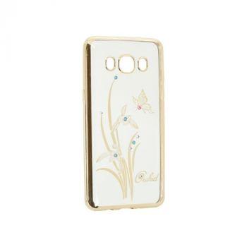 Прозрачный чехол с рисунком и камешками для Huawei P8 Lite Orchid