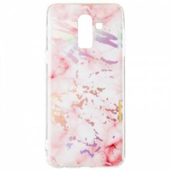 Мраморный чехол с красками для Samsung J810 (J8-2018) розовый